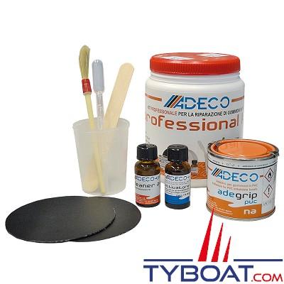 Adeco - kit professionnel de réparation de bateaux gonflables PVC gris