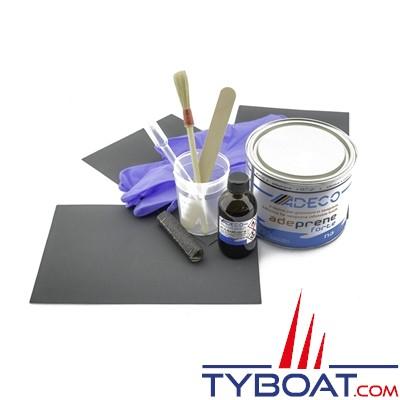 Adeco - kit ultra professionnel de réparation de bateaux gonflables Néoprene noir
