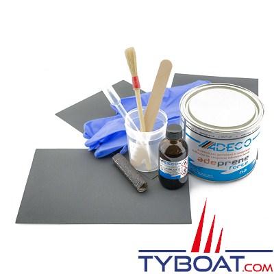 ADECO - kit ultra professionnel de réparation de bateaux gonflables PVC gris