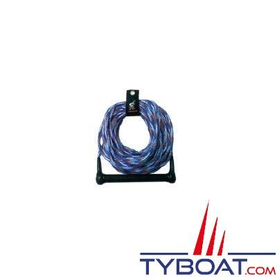 Corde à ski polypropylène et palonnier droit aluminium et caoutchouc antidérapant longueur 23m