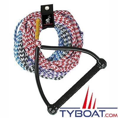 Corde à ski polypropylène et palonnier triangulaire aluminium et caoutchouc antidérapant longueur 25m