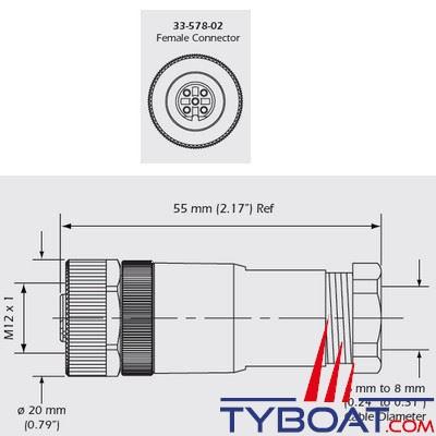 Airmar - Connecteur NMEA 2000 Field connector Micro femelle