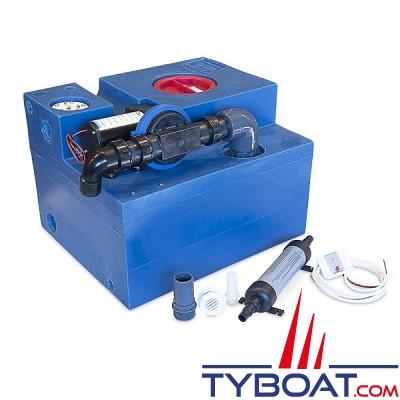Albin Pump Marine - Kit complet réservoir eaux noires - Capacité 47 Litres - 12 Volts - 03-02-007