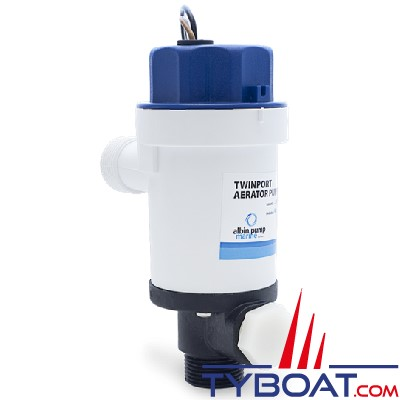 Albin Pump Marine - Pompe aérateur Twinport - 500 GPH 32L/min - 12v - sortie courte - 01-05-074