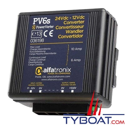 Alfatronix - PV6s -Abaisseur de tension 24/12 Volts - 6/10 Ampères