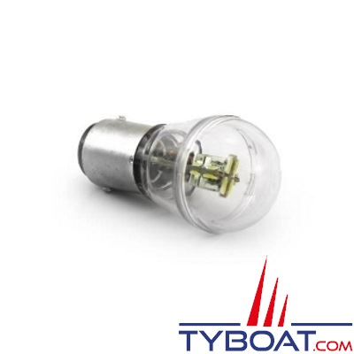 Ampoule à LED Dixplay BAY15D 12+4 leds blanc chaud 8/35V 0.7W