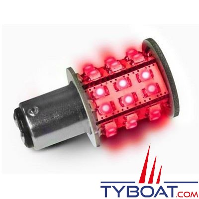 Ampoule à LED Dixplay BAY15D 33 leds rouge 8/35V 3W