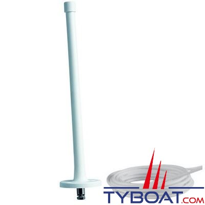 Antenne AM-FM Glomex RA1281 caoutchouc longueur 30 cm + câble coaxial longueur 3 m. - pour vedettes