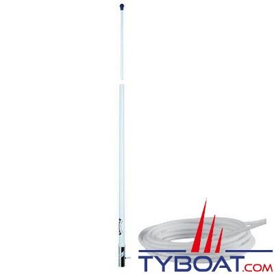 Antenne AM-FM Glomex RA1288 fouet fibre de verre 2,40 m. + câble coaxial longueur 6 m. - pour vedettes