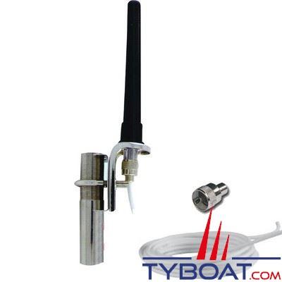 Antenne VHF Glomex RA111 Régate 1 dB caoutchouc longueur 14 cm + câble longueur 18 m.