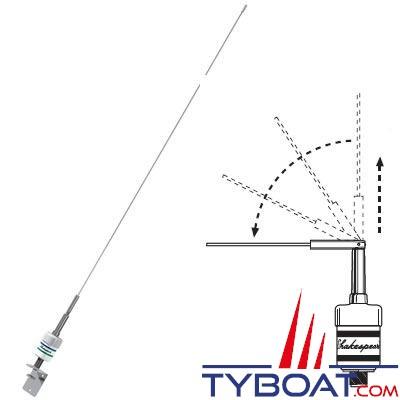 Antenne VHF Shakespeare 5247-A-D 0.9m 3dB, antenne fouet inox basculante, bobinage cuivre sous boîtier étanche, connecteur SO-239 + support