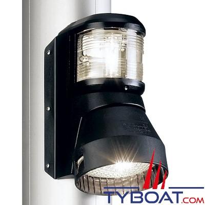 Aqua Signal - Combiné feu tête de mât + projecteur de pont - Série 41 - Noir - Pour bateaux inférieurs à 20 mètres