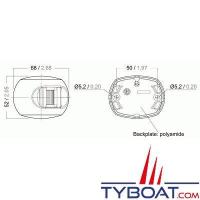 Aqua Signal - série 34 - Feu tribord LED noir 12/24 volts 112,5°
