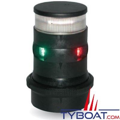 Aqua Signal - série 34 - Feu tricolore LED mât + mouillage - Noir - 12/24 Volts
