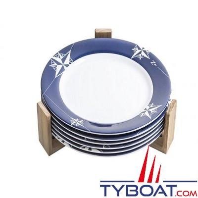 Arc Marine - Support en teck  - range assiette  - 3 unités - 90 mm