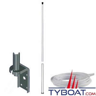 Banten - Antenne AM-FM AR18/1241 fouet fibre de verre 1,20 m. + équerre de fixation + câble coaxial longueur 18m. - pour voiliers