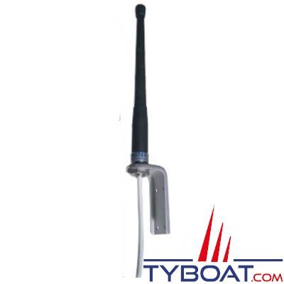 Banten - Antenne VHF 20310 RRG caoutchouc noir - 2 dB  25 cm équerre inox courte + 25 m. de câble gamme ECO pour voiliers
