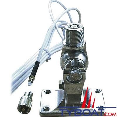 Banten - Support laiton chromé pour antenne VHF série Fastfit + câble longueur 6 mètres