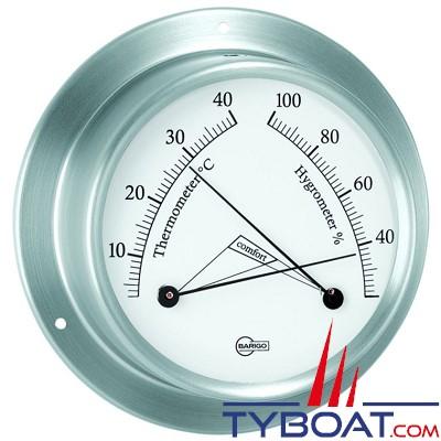 BARIGO - Conforimètre hygromètre et thermomètre série Sky Ø85mm - version inox brossé fond blanc