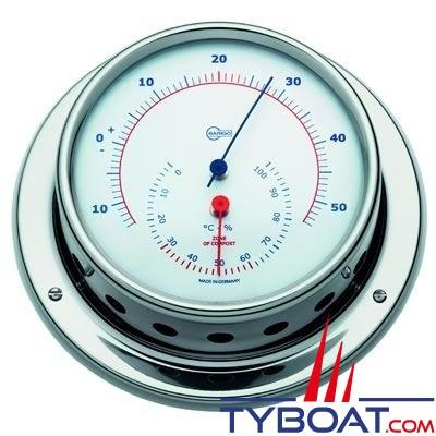 Barigo série Regatta Ø100mm - Conforimètre hygromètre et thermomètre - version inox polie