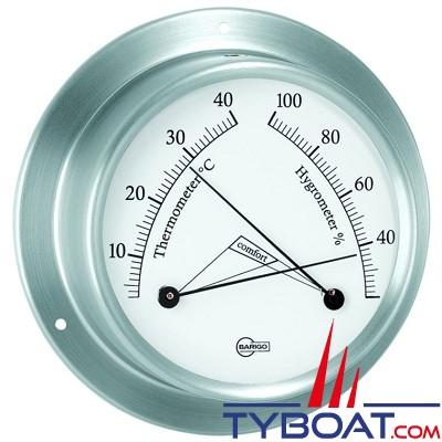 Barigo série Sky Ø85mm - Conforimètre hygromètre et thermomètre - version inox brossé fond blanc