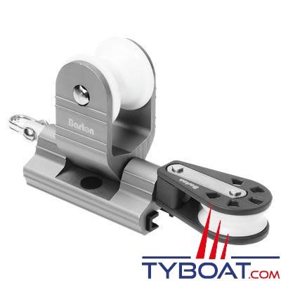 Barton Marine - Avale-tout tractable pour rail en T - largeur 25 mm + poulie