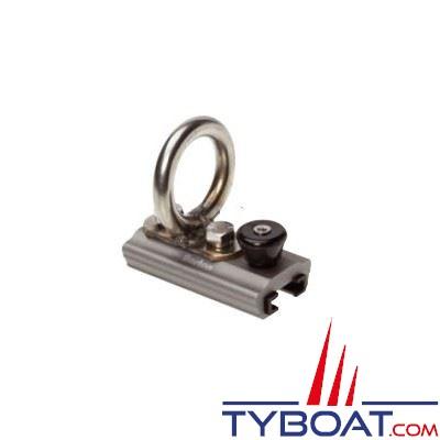 Barton Marine - Curseur de Spinnaker à cliquet pour rail en T - largeur 25 mm - Ø int. oeil 28 mm