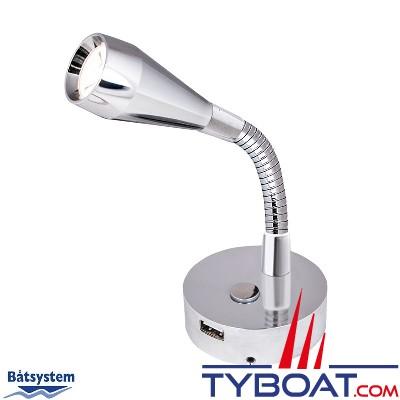 Batsystem - Applique à led Leia - 12 Volts avec variateur 0 à 270 lumens - Bras flexible - USB - chrome