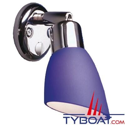 BATSYSTEM - Applique OPALE à led - 8/30 Volts 80 lumens - base chrome et abat jour en verre bleu.