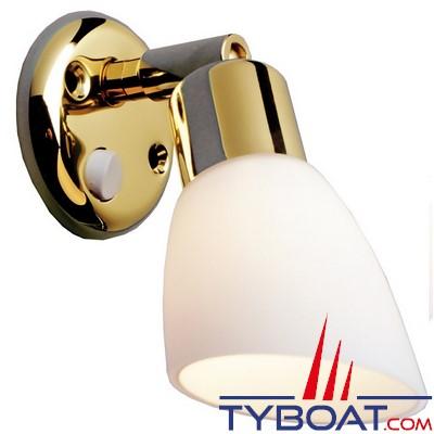 BATSYSTEM - Applique OPALE à led - 8/30 Volts 80 lumens - base laiton et abat jour en verre blanc.
