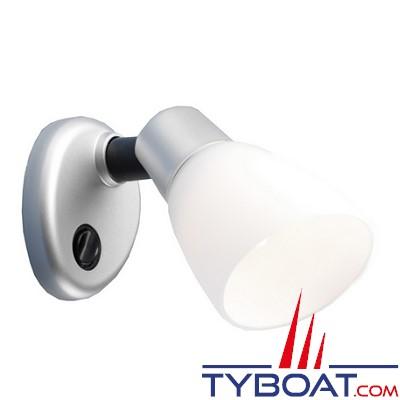 BATSYSTEM - Applique OPALE II à led - 8/30 Volts 80 lumens - pied en plastique coloris argent mat , abat-jour en plastique blanc.