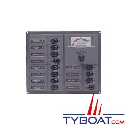 BEP Marine - Tableau électrique 12 disjoncteurs unipolaires + voltmètre analogique 8-16 Ampères