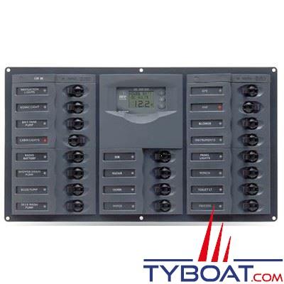 BEP Marine - Tableau électrique 20 disjoncteurs unipolaires + contrôleur de batterie digital 10-35 Voltsolts