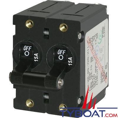 Blue Sea Systems - Disjoncteur thermique série a bipolaire 15 Ampères noir - BS7234