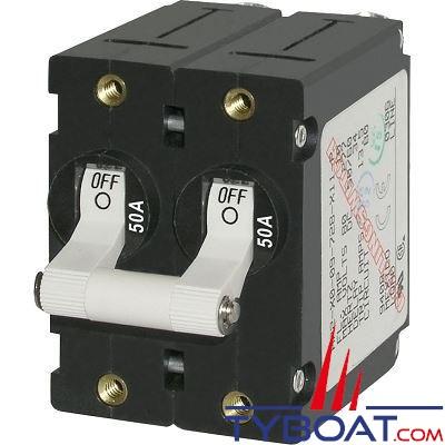 Blue Sea Systems - Disjoncteur thermique série a bipolaire 50 Ampères blanc - BS7242