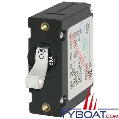 Blue Sea Systems - Disjoncteur thermique série a unipolaire 50 Ampères blanc - BS7230