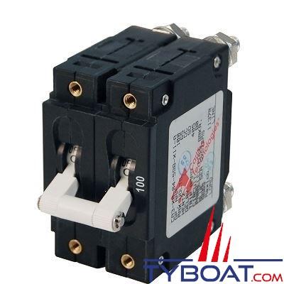 Blue Sea Systems - Disjoncteur thermique série c bipolaire 100 Ampères blanc - BS7258
