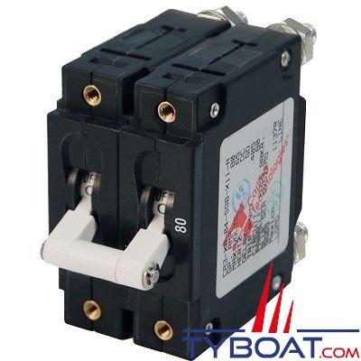 Blue Sea Systems - Disjoncteur thermique série c bipolaire 80 Ampères blanc - BS7256