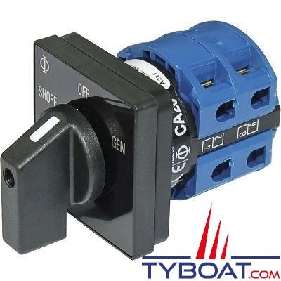 Blue Sea Systems - Interrupteur sélecteur 120 Volts a.c 30 Ampères off+2 - BS9009