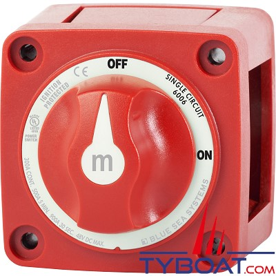 Blue Sea Systems - Switch de batterie bouton série M à 2 positions - simple circuit - 300A