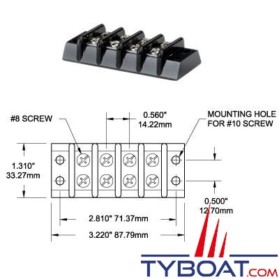 BLUE SEA SYSTEMS - Bloc de jonction 4 circuits 30A - BS2504