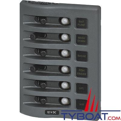 tableau lectrique tanche blue sea weatherdeck 4376 6 interrupteurs 6 disjoncteurs gris ip67. Black Bedroom Furniture Sets. Home Design Ideas