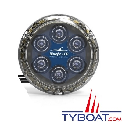 Bluefin Led - Piranha P6 NITRO - Lampe LED sous-marine à montage en surface - 3200 lumens - 12V - Bleu cobalt