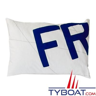 BOCARRE - Taie d'oreiller - Motif impression Zizag - 50 x 70 - Lettre Fr en bleu