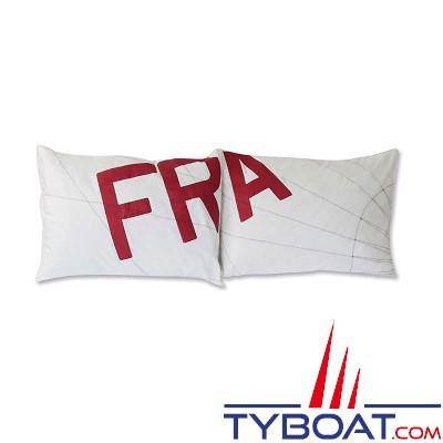 BOCARRE - Taie d'oreiller - Motif impression Zizag - 50 x 70 - Lettre Fr en rouge