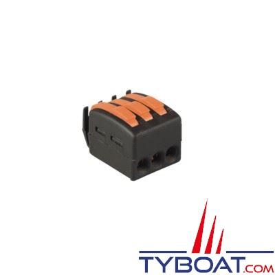 Borne de connection à languette BizLine 3 entrées pour fils souples et rigides 1 à 2,5 mm2 (x10 pièces)