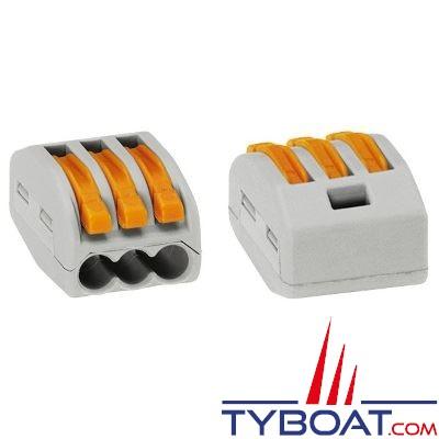 Borne de connection à languette WAGO 3 entrées pour fils souples et rigides 0.8 à 2,5 mm2 - à l'unité