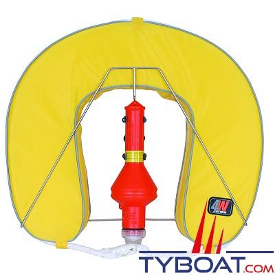 Bouée fer à cheval For Water avec feu à retournement et support inox - jaune
