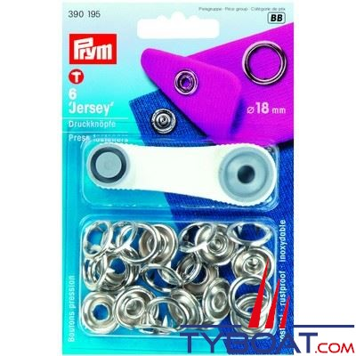 Bouton pression Prym laiton nickelé inoxydable Ø 18mm (x6 pièces + outils)
