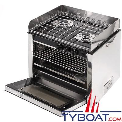 CAN - Cuisinière inox 2 feux avec four 30 litres - 500 x 390 x 410 mm